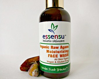 Organic Blue Agave All Natural Moisturizing Face Wash   All Skin Types   Skin Nourishing Formula   Vegan   Celebrity YouTube Gifting - 4 oz