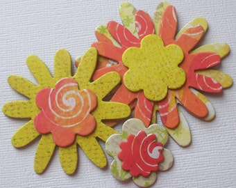 TROPICAL Flowers Chipboard Die Cuts - Floral Embellishments - 14 Pieces