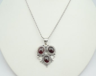 Vintage Rhodolite Garnet and Sterling Silver Pendant FREE SHIPPING With 24 Inch Sterling Chain!  #GARNT-SP1