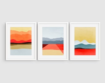 Mid Century Modern Art, Abstract Art Set of 3 Prints, Wall Art Set of 3 Abstract, Landscape Print Set of 3, Living Room Wall Decor