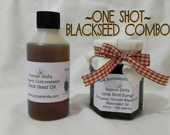 One Shot Syrup / Sidr Honey / Blackseed Oil / cough syrup / cold and flu / natural medicine / Islamic remedies / syrup / blackseed oil
