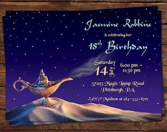 Arabian Nights Birthday Invitation, Bridal Shower Invitation Baby Shower Moroccan Arabian Nights Party Aladdin Invitation Digital or Printed