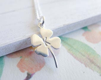 Personalized Clover Necklace Lucky Charm Pendant Sterling Silver Four Leaf Clover