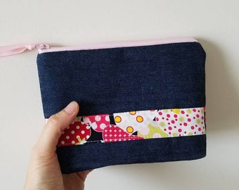 Makeup pouch, Denim and Strawberry printed cotton fabric zippered pouch, Cosmetic zipper bag, Cute zipper pouch