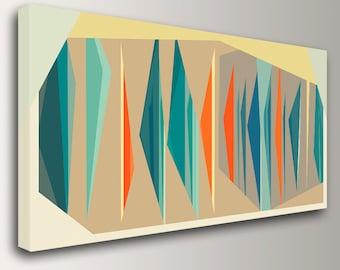 "Mid Century Modern Art in Teal and Orange Large Canvas Print Geometric Wall Art  Vintage Modern Wall Decor "" Multiplex Panorama """