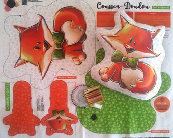 Fabric for cushion and blanket (or heated) Fox + rattle sewing-cut and sew