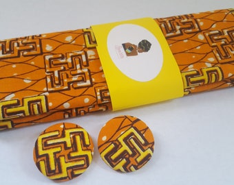 Ankara head wrap and fabric button earrings, African head wrap, African earrings, Button earrings, Fabric earrings, African headwrap women