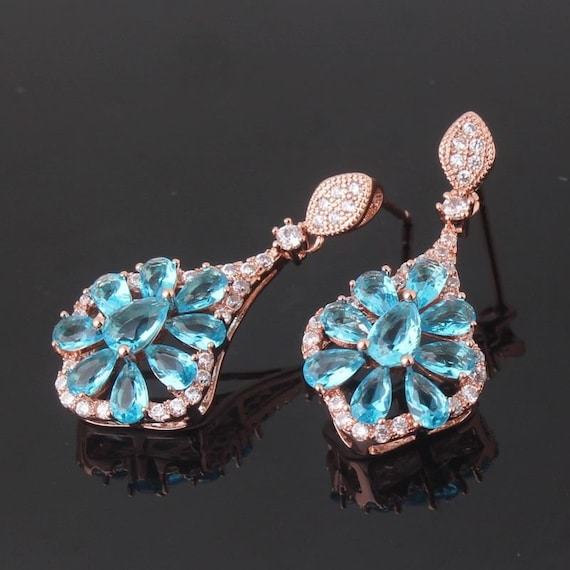 Lovely Edwardian style 18 ct rosegold filled aquamarine sapphire crystal drop earrings