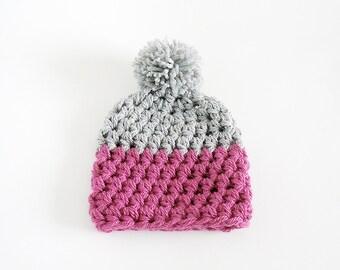 Pom Pom Beanie Knit Hat Gray and Cyclamen Pink Chunky Women's Beanie
