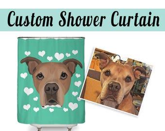 CUSTOM SHOWER CURTAIN | Send your photo | Custom Pet Portrait | Choose Background Color | Dog Lover Gift |