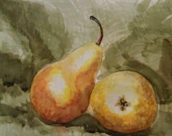 "Original Watercolor Painting - ""Pears on Burlap Study"""