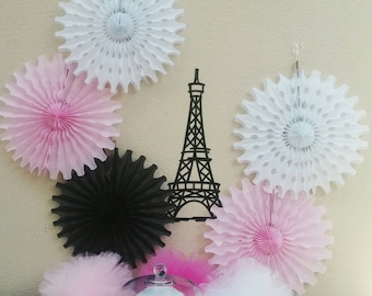 Paris Eiffel Tower backdrop with tissue fans and extra large Eiffel Tower die cut pink black white