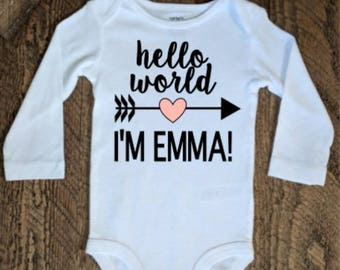 Hello World Baby Outfit, Baby Boy Coming Home Outfit, Baby Girl Coming Home Outfit, Hello World, Newborn Coming Home Outfit, Hello World