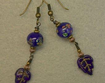 Vintage German Pressed Glass Cobalt Blue Leaf Gold Etched Bead Dangle Drop Earrings , Vintage Japanese Cobalt Blue Millefiori Glass Bead