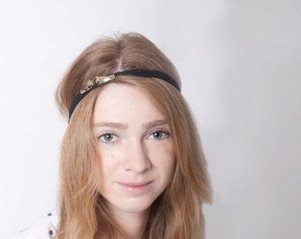 Golden Black Lace Women Headband