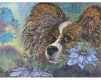 Papillon Butterfly dog 8x10 art print - Love in the Mist flowers