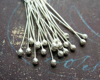 26 gauge Raw Sterling Silver Ball Tipped Head Pins - 20 pieces