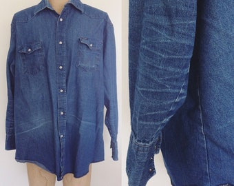 1970's Mens Wrangler Denim Pearl Snap Button Up Shirt Size XXL by Maeberry Vintage