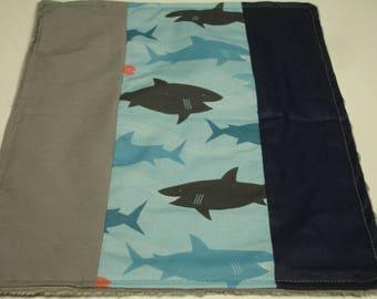Sharks Baby Minky Burp Cloth  10 x 12 READY TO SHIP