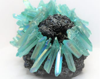 Aqua Green Blue Quartz Points Crystal Point Beads Top Drilled Raw Quartz Crystal Stick Beads Green Natural Raw Stones LynnsGemSupplies