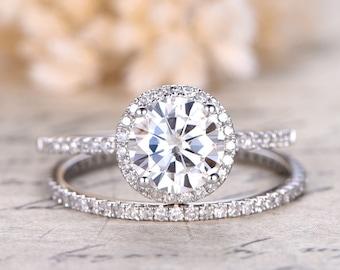 Charles & Colvard Moissanite Ring Moissanite Engagement Ring Diamond Wedding Band Solid 14K White Gold Bridal set Wedding Ring Set
