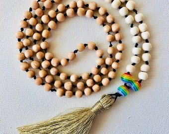 Beaded Tassel Necklace, Hand Knotted,108 bead, Mala Prayer Necklace, Wood and Glass Beads, Rainbow beads, Gold Tassel