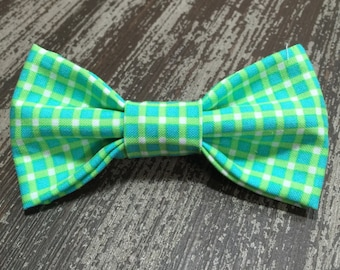 Bow Tie or Flower Collar Attachment & Accessory for Dogs and Cats / Teal and Lime Gingham