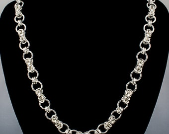 Byzantine Connected Ring Necklace, Byzantine Chain Maille Necklace, Byzantine Connected Ring Weave, Sterling Silver Necklace, Chainmail, iDu
