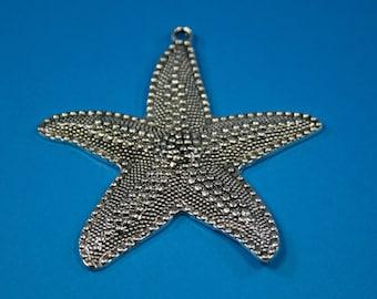 Large Pewter Starfish  1 Charm  (60 x 66 mm)
