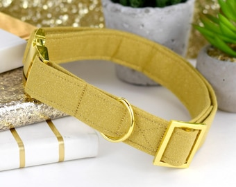 Dog Collar - Gold Cotton Fabric With Gold GLITTER - Fashion Dog Collar - Fabric Dog Collar - Yellow Gold Metal Hardware