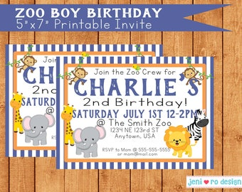 Zoo boy birthday - Printable Invitation!  Personalization included!