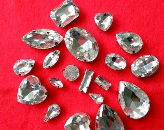 10 pcs Sew On Crystal Fancy Stones Different Shape Different Sizes Flat Back