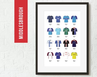 ICONIC Middlesbrough Classic Away Kits Print, Football Poster, Football Gift, FREE UK Delivery