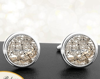 Map Cufflinks Dorchester MA Cuff Links State of Massachusetts for Groomsmen Wedding Party Fathers Dads Men