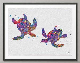 Sea Turtle Love Watercolor illustrations Art Print  Wedding Gift Wall Art Poster Nursery Giclee Wall Decor Art Home Decor Wall Hanging No 64