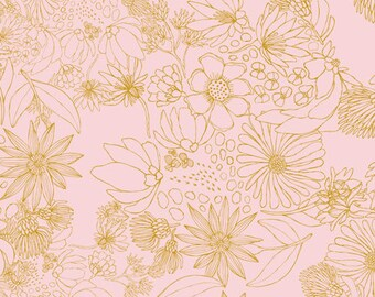 Art Gallery Fabric, Leah Duncan, Pink Floral Fabric, Sahuaro Picks Pale, Morning Walk, Peach Floral Fabric, Fabric by the Yard