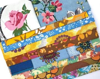 Vintage Fabric, Scrap Pack - Flower Designs 50s, 60s, 70s Flowers