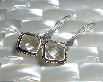 Crystal Clear and Silver Dangle Earrings, Modern Jewelry, Drop Earrings, Long Earrings, Cubic Zirconia Earrings in Matte Rhodium