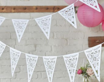 White FloralCut Paper Bunting, Wedding Bunting, Wedding Garland, White Lace Wedding Decor, White Lace Flag Bunting, Baby Shower Bunting