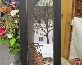Winter Wall Art,Vertical Wall Art,Sled,Billy Jacobs,Handmade Distressed Frame,81/2x221/2