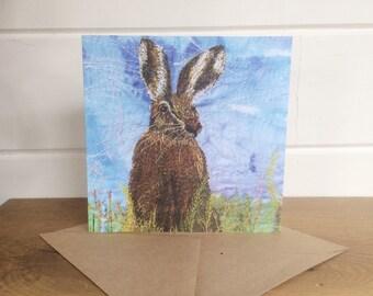 Hare card ~ blank card ~ greetings card ~ Hare greetings card ~ nature lover ~ art card ~ animal card
