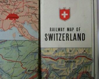 Vintage Railway map of Switzerland. Vintage Swiss Map. Ephemera. Collectible. Tourist Guide. Travel Map. 1947. Railway map. Suiza. Rare.