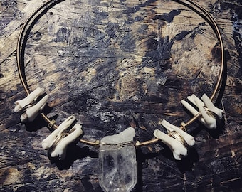 Quartz and wildboar tooth brass choker/necklace
