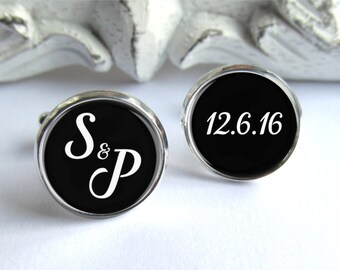 Wedding Cufflinks, Personalized Cufflinks For Groom, Initial Cufflinks