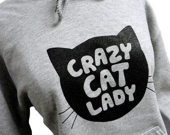 Crazy Cat Lady Hoodie - CAT Silhouette Grey Sweatshirt - Unisex Sizes S, M, L, XL