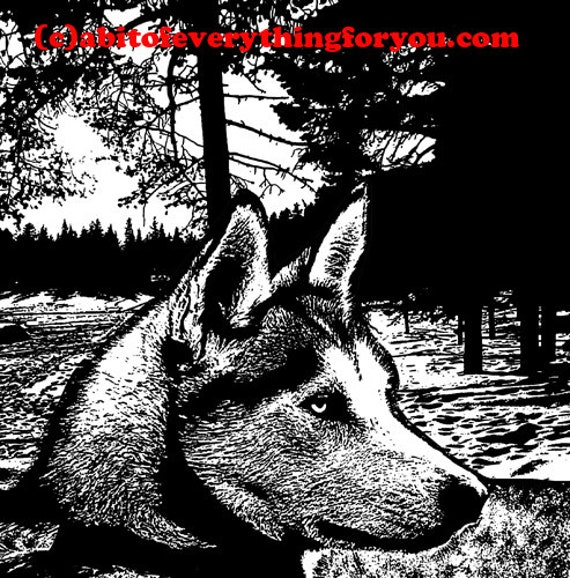 alaskan husky dog in snow printable animal wall art print clipart png download digital dogs images graphics pets black and white art