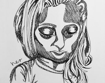 "PRINT 8.5""x11"" Ink Pen Drawing, Stylized Female Portrait 2"