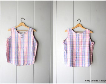 Boxy Plaid Tank Top Slouchy Pink Blue Tee Boho Hipster Cotton Loose Fit Shirt Preppy Sleeveless Blouse with Buttons Womens Medium Large