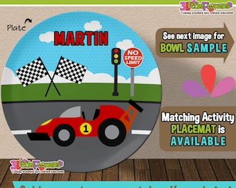 Race Car Plate and Bowl Set - Personalized Plastic Children Plate Cereal Bowl - Choose TRAITS color - Driver Plate Set - Racing Party Gift