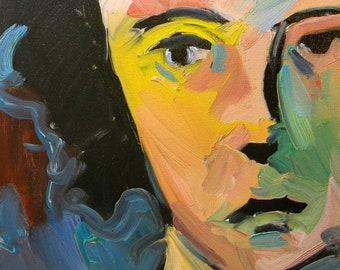 JOSE TRUJILLO Impressionism ORIGINAL Oil Painting Portrait Woman Half Face coa